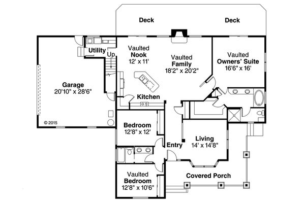 Country Floor Plan - Main Floor Plan Plan #124-984