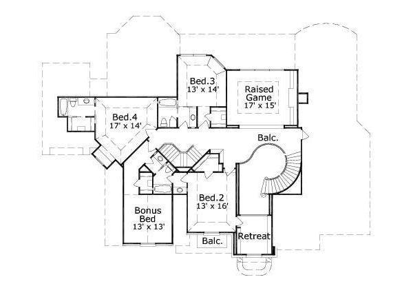 Traditional Floor Plan - Upper Floor Plan Plan #411-814