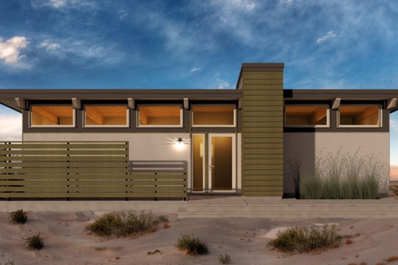 Modern Style House Plan - 1 Beds 1 Baths 672 Sq/Ft Plan #556-1 Exterior - Front Elevation
