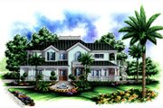 Traditional Style House Plan - 4 Beds 4.5 Baths 3522 Sq/Ft Plan #27-409 Exterior - Front Elevation