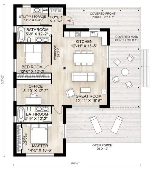 Cabin Style House Plan - 2 Beds 2 Baths 1230 Sq/Ft Plan #924-2 Floor Plan - Main Floor Plan