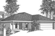 Colonial Style House Plan - 3 Beds 2 Baths 1437 Sq/Ft Plan #15-102 Exterior - Front Elevation