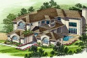 Mediterranean Style House Plan - 6 Beds 5.5 Baths 5388 Sq/Ft Plan #420-169 Exterior - Front Elevation