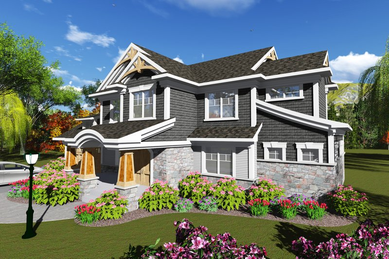 Dream House Plan - Craftsman Exterior - Front Elevation Plan #70-1249