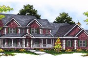 Country Style House Plan - 5 Beds 3.5 Baths 4025 Sq/Ft Plan #70-543 Exterior - Front Elevation
