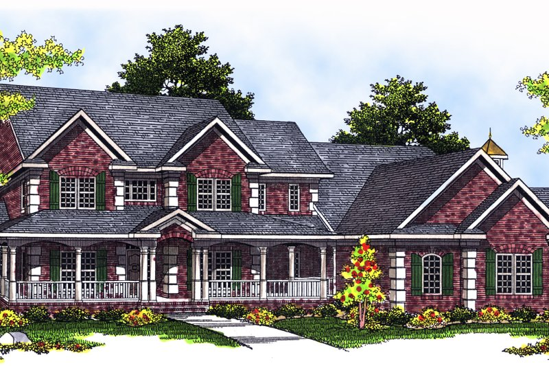 Country Exterior - Front Elevation Plan #70-543 - Houseplans.com