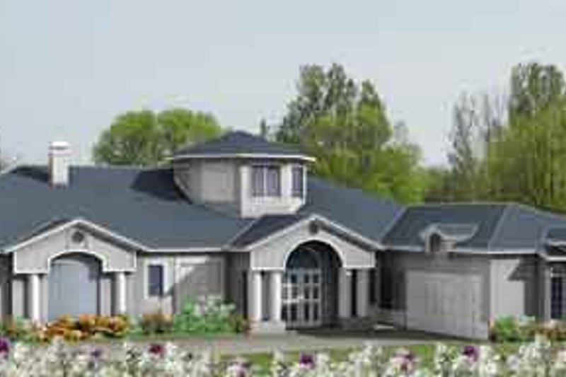 Adobe / Southwestern Style House Plan - 5 Beds 4 Baths 3839 Sq/Ft Plan #1-885