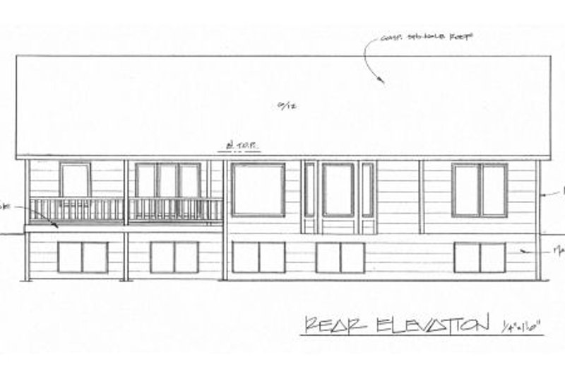 Traditional Exterior - Rear Elevation Plan #58-195 - Houseplans.com