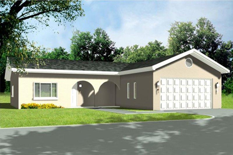 House Blueprint - Adobe / Southwestern Exterior - Front Elevation Plan #1-1260