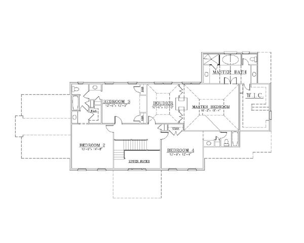 European Floor Plan - Upper Floor Plan Plan #119-299