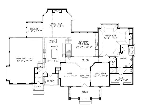 House Plan Design - Farmhouse Floor Plan - Main Floor Plan #54-380
