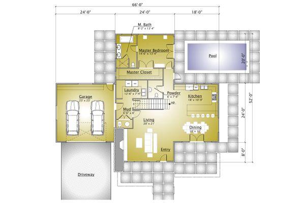 Modern Floor Plan - Main Floor Plan #910-1