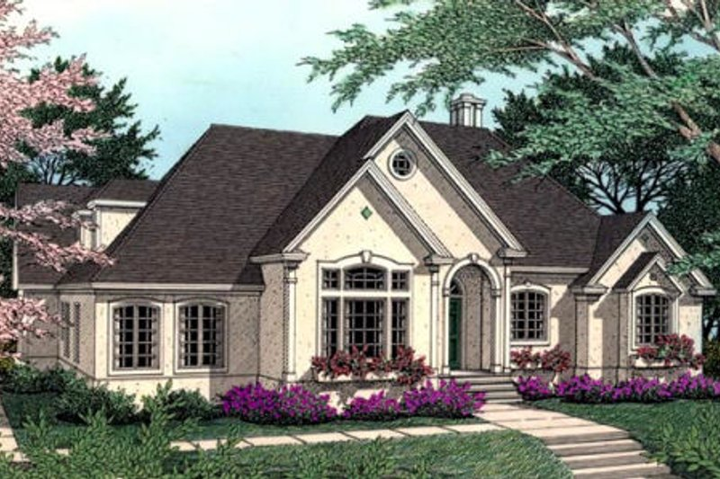 European Exterior - Front Elevation Plan #406-114
