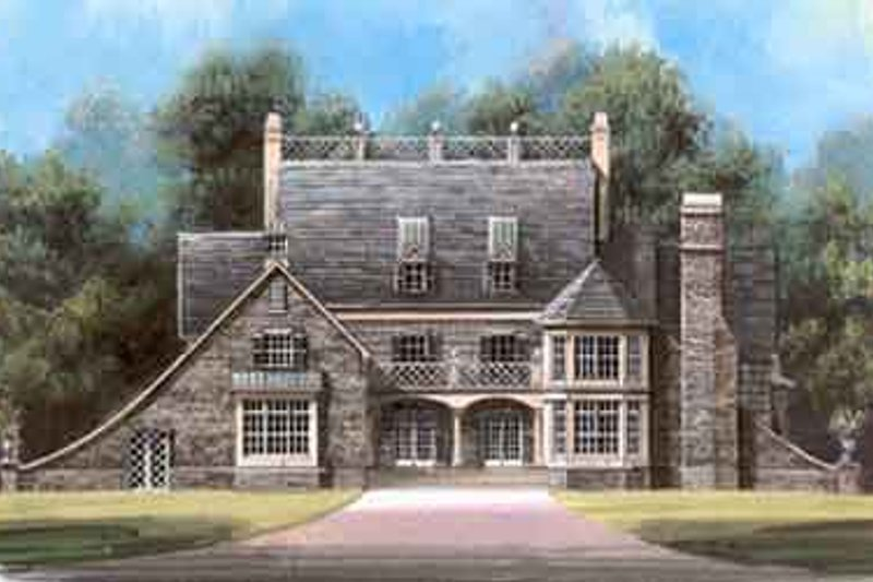 European Style House Plan - 4 Beds 3.5 Baths 3276 Sq/Ft Plan #119-136 Exterior - Front Elevation