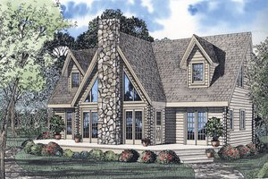 Log Exterior - Front Elevation Plan #17-464