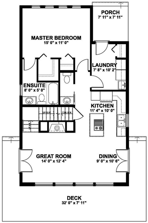 Dream House Plan - Cabin Floor Plan - Main Floor Plan #126-188