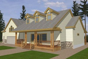 Southern Exterior - Front Elevation Plan #117-147
