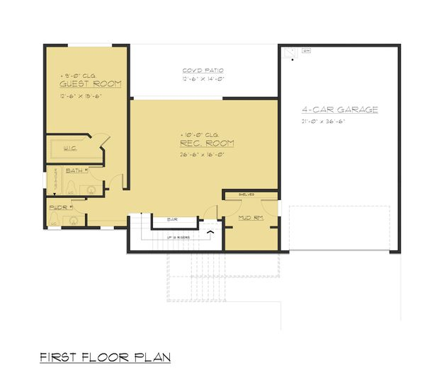 Modern Floor Plan - Lower Floor Plan Plan #1066-84