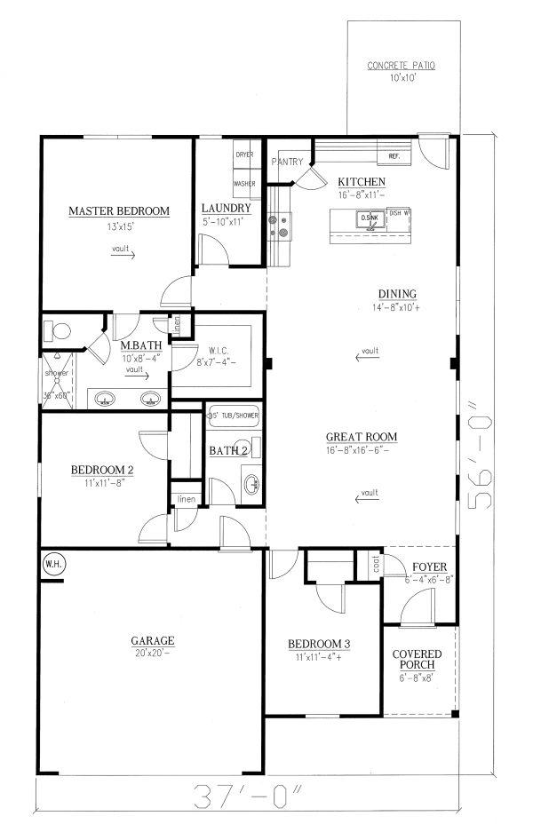 Craftsman Floor Plan - Main Floor Plan Plan #437-99