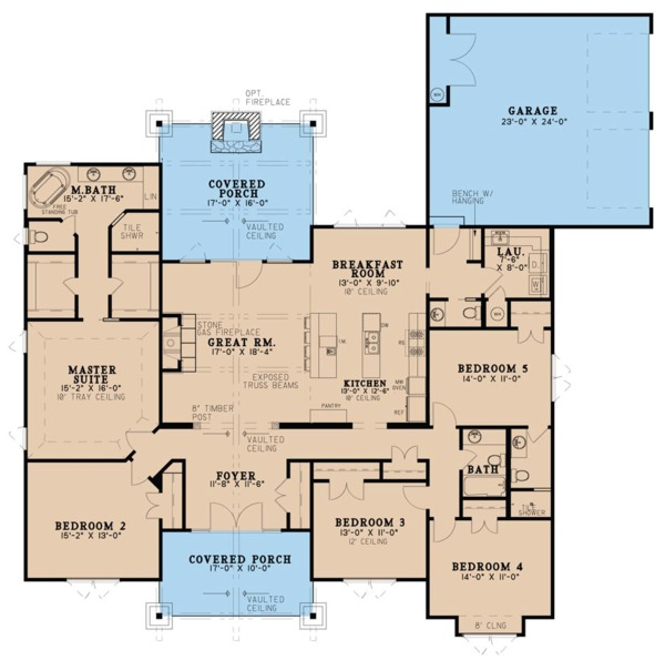 Craftsman Floor Plan - Main Floor Plan Plan #923-20