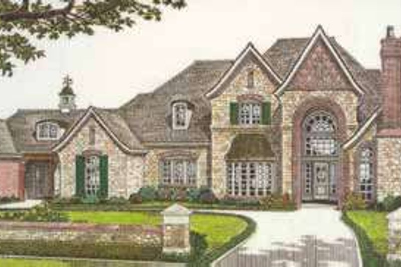 European Style House Plan - 5 Beds 5.5 Baths 4970 Sq/Ft Plan #310-521 Exterior - Front Elevation