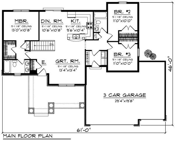 Ranch Floor Plan - Main Floor Plan Plan #70-1186