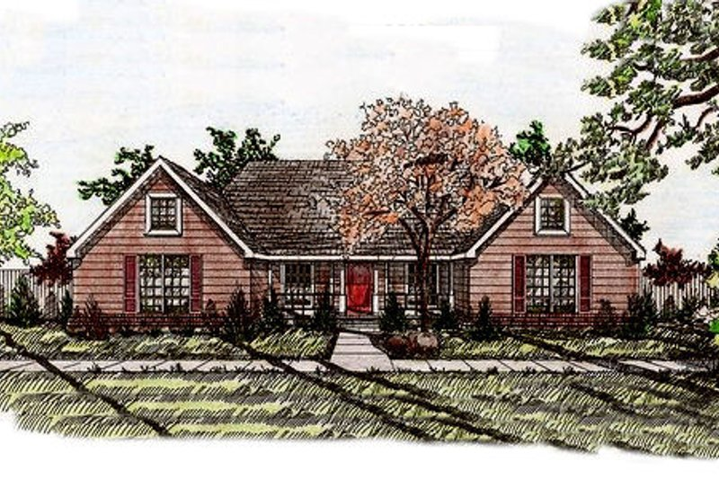 Traditional Style House Plan - 4 Beds 2.5 Baths 2198 Sq/Ft Plan #405-141 Exterior - Front Elevation
