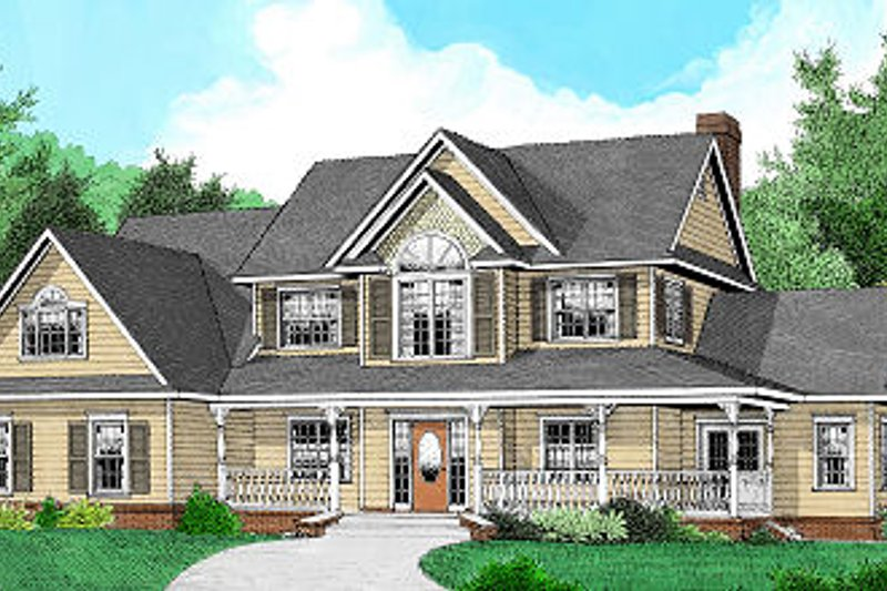 Architectural House Design - Country Exterior - Front Elevation Plan #11-225
