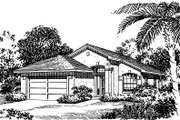 Mediterranean Style House Plan - 3 Beds 2 Baths 1118 Sq/Ft Plan #417-105 Exterior - Front Elevation