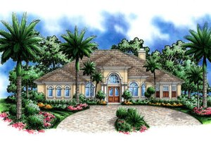 Mediterranean Exterior - Front Elevation Plan #27-406