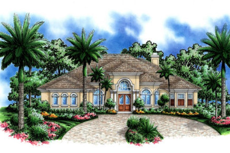Mediterranean Style House Plan - 5 Beds 3.5 Baths 3686 Sq/Ft Plan #27-406 Exterior - Front Elevation