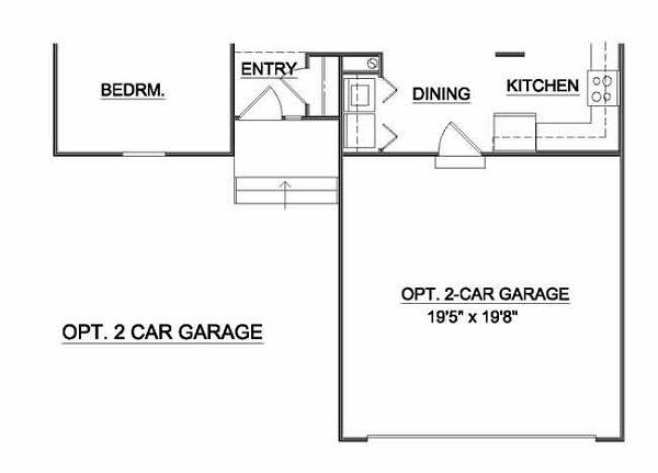 Country Style House Plan - 2 Beds 2 Baths 1018 Sq/Ft Plan #116-122 Floor Plan - Other Floor Plan