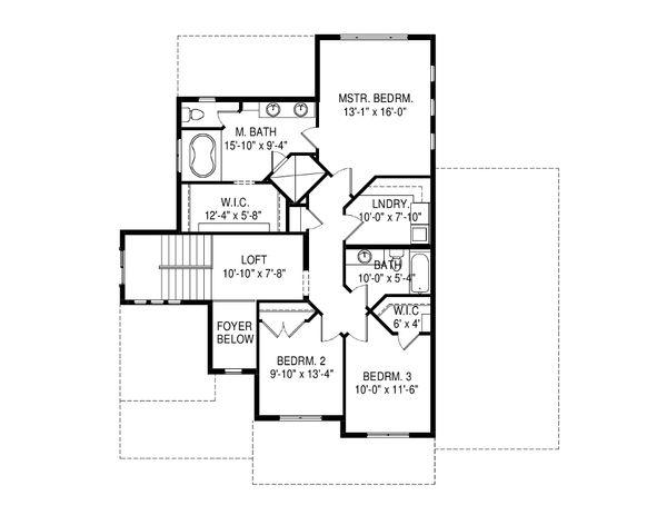 Traditional Floor Plan - Upper Floor Plan Plan #920-92