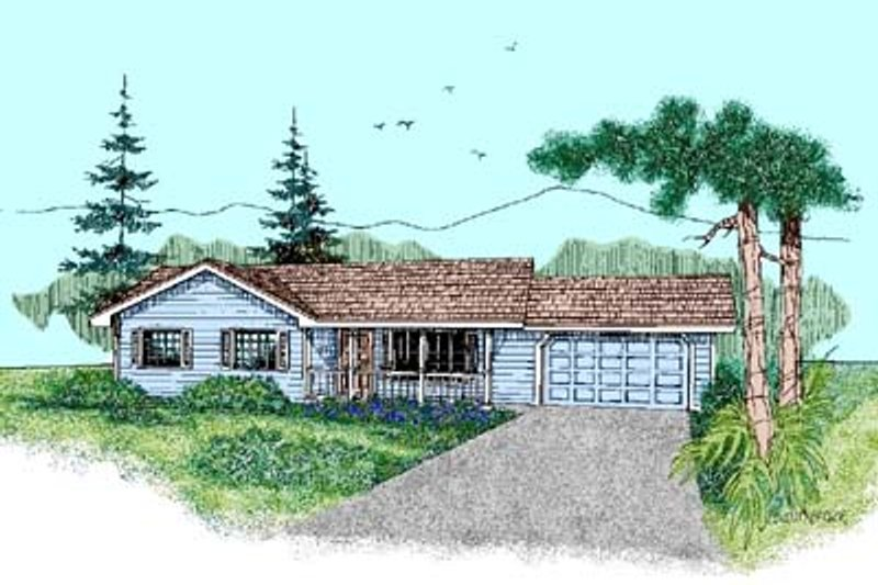 Ranch Style House Plan - 3 Beds 2 Baths 1192 Sq/Ft Plan #60-445 Exterior - Front Elevation