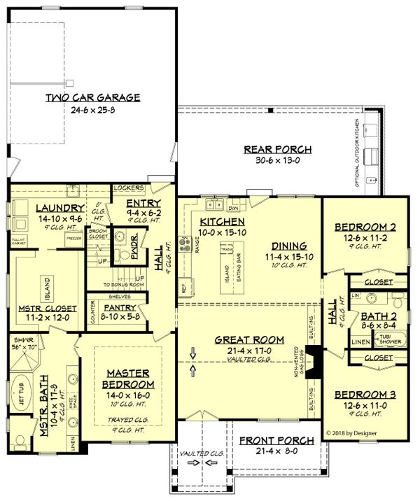 Dream House Plan - Farmhouse Floor Plan - Main Floor Plan #430-187
