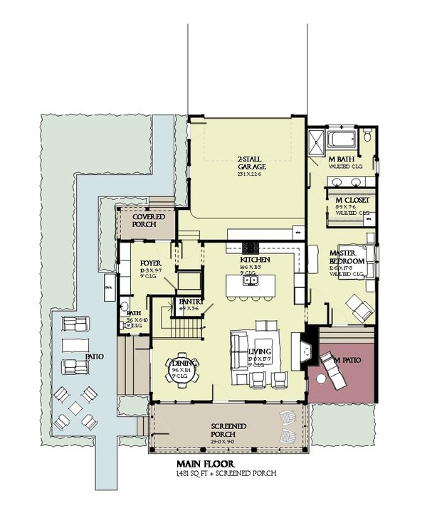 Beach Floor Plan - Main Floor Plan #901-124