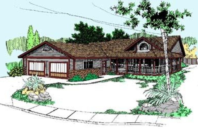Ranch Exterior - Front Elevation Plan #60-347 - Houseplans.com