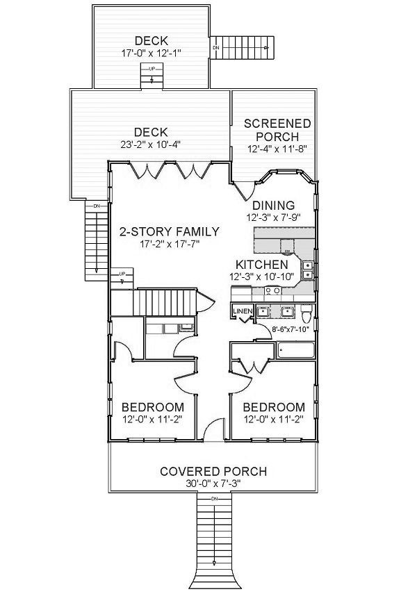 Beach Floor Plan - Main Floor Plan Plan #898-44