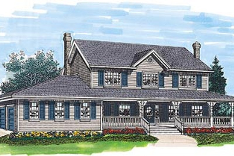 Country Style House Plan - 4 Beds 2.5 Baths 2094 Sq/Ft Plan #47-215 Exterior - Front Elevation