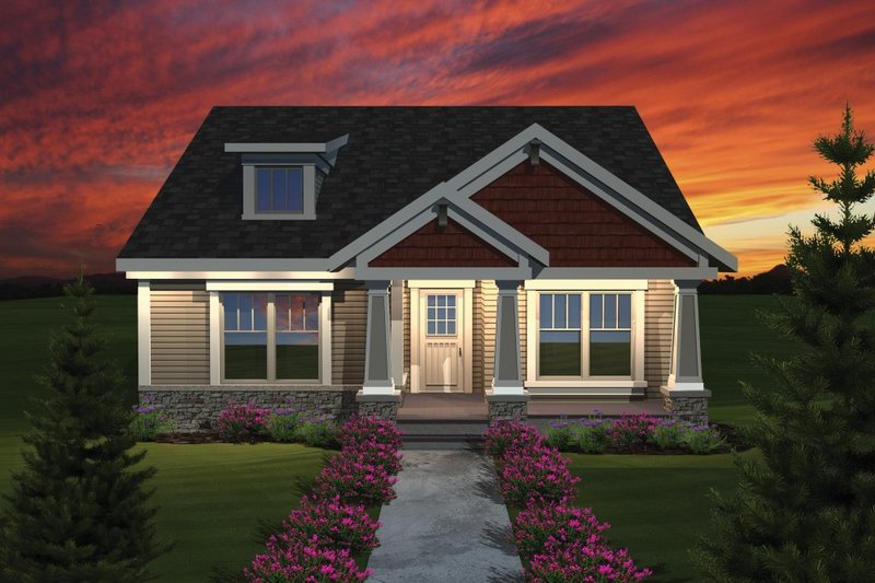 Craftsman Style House Plan - 2 Beds 1.5 Baths 1445 Sq/Ft Plan #70-1075 Exterior - Front Elevation