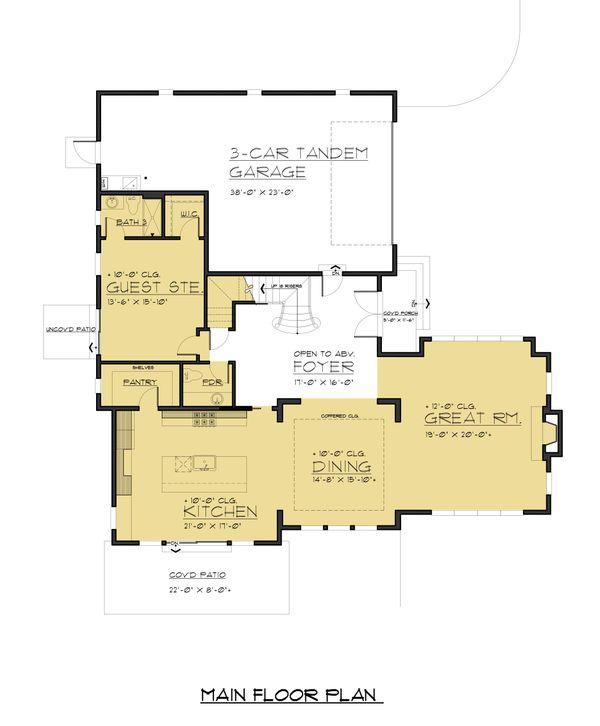 Modern Floor Plan - Main Floor Plan Plan #1066-87