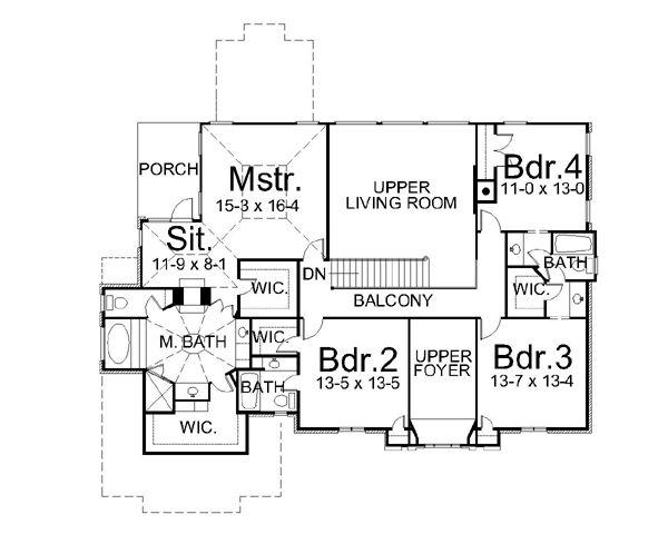 European Floor Plan - Upper Floor Plan #119-250