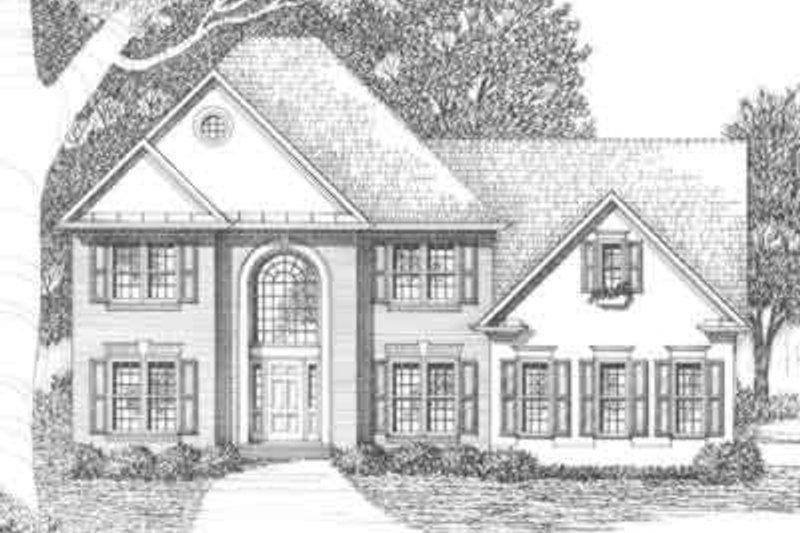 Traditional Style House Plan - 4 Beds 4.5 Baths 2567 Sq/Ft Plan #129-121 Exterior - Front Elevation