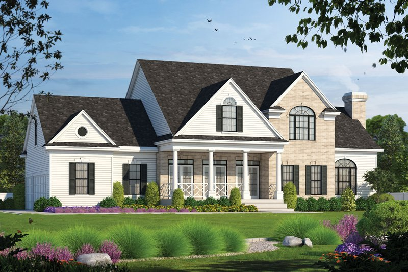 Dream House Plan - Farmhouse Exterior - Front Elevation Plan #20-253