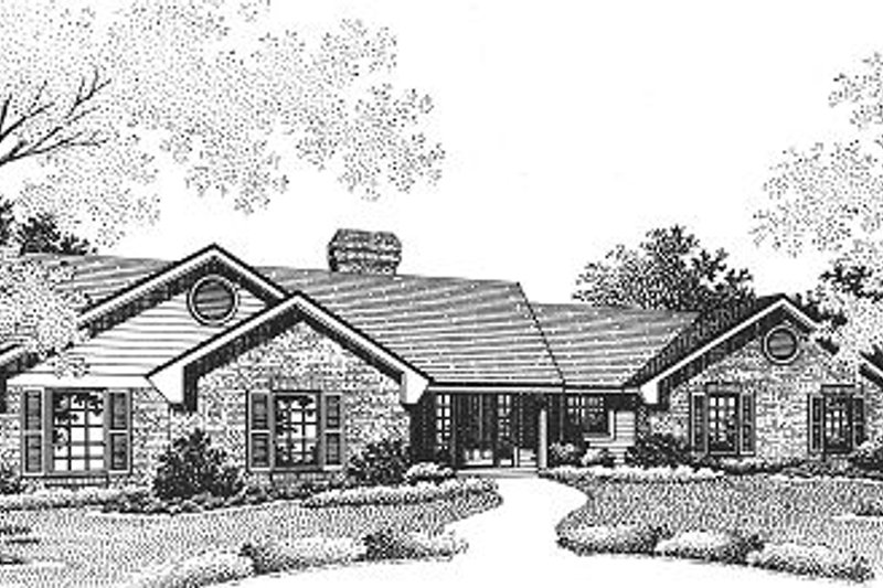 Ranch Style House Plan - 3 Beds 2 Baths 1540 Sq/Ft Plan #310-602 Exterior - Front Elevation