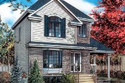 Cottage Style House Plan - 3 Beds 1.5 Baths 1021 Sq/Ft Plan #138-186 Exterior - Front Elevation