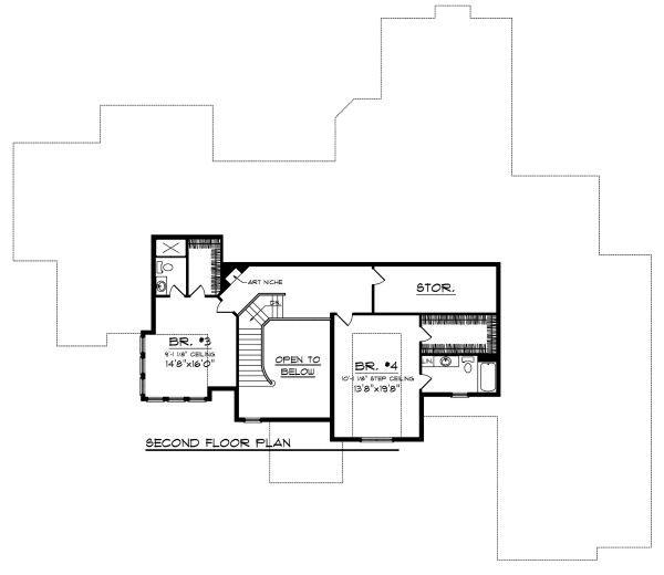 European Floor Plan - Upper Floor Plan Plan #70-890