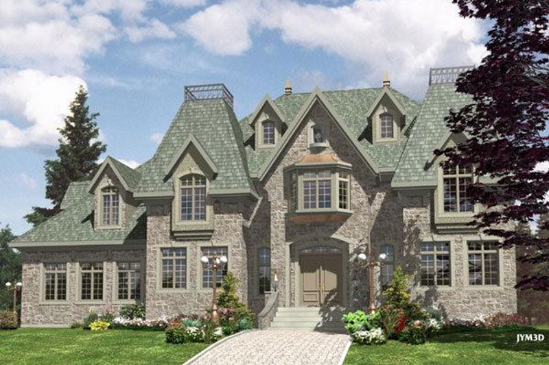 European Style House Plan - 4 Beds 2.5 Baths 3520 Sq/Ft Plan #138-147 Exterior - Front Elevation