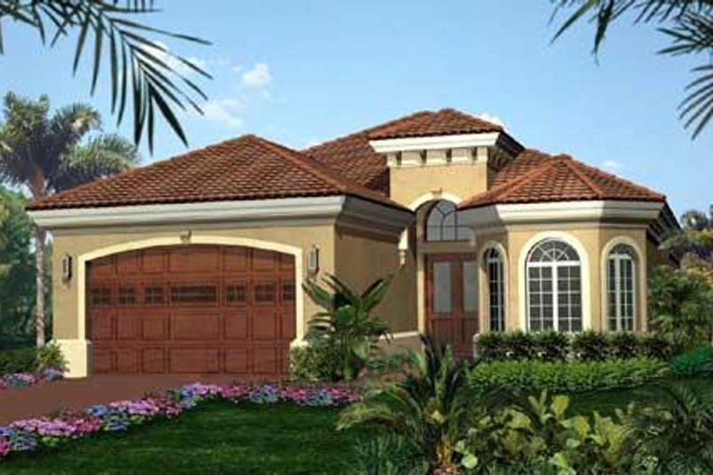 European Style House Plan - 2 Beds 2 Baths 2022 Sq/Ft Plan #27-280 Exterior - Front Elevation