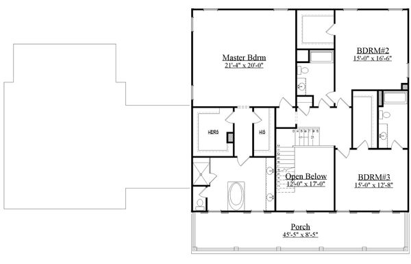 Southern Floor Plan - Upper Floor Plan Plan #1071-19